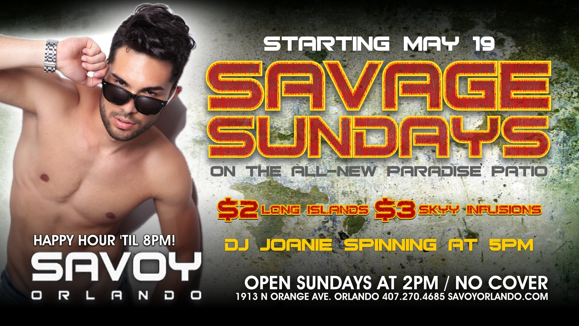 Savage Sundays at Savoy Orlando Drink Specials 2 long island Gay Party