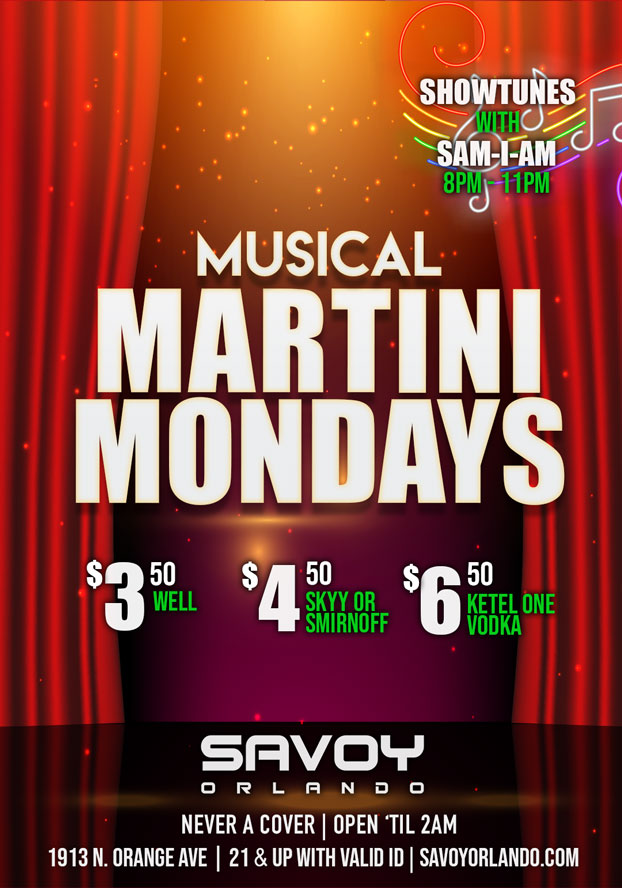 Martini Mondays Savoy Bar Gay in Orlando