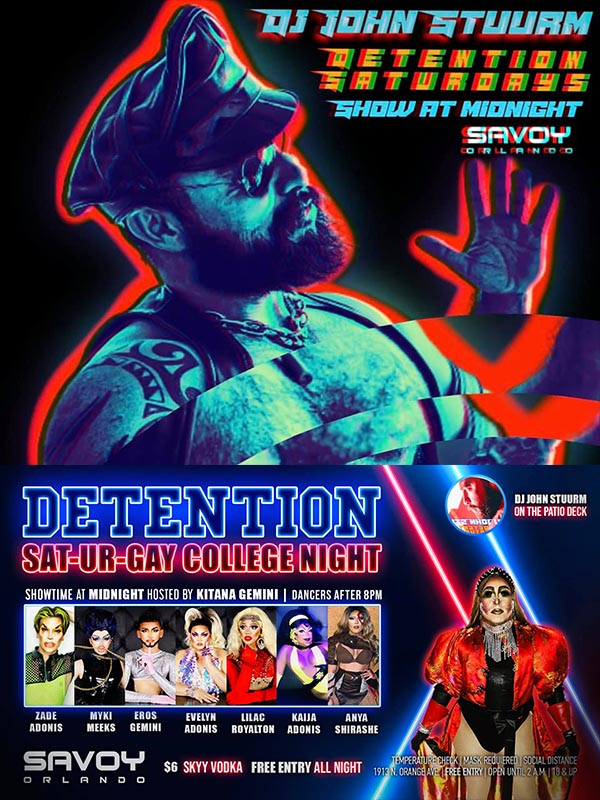 Saturday College Nights at Savoy Orlando Florida dj drag show and specials at the best bar gay in orlando